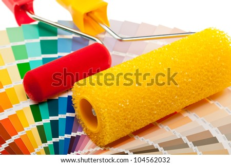 Paint rollers and color samples for interior and exterior decoration works