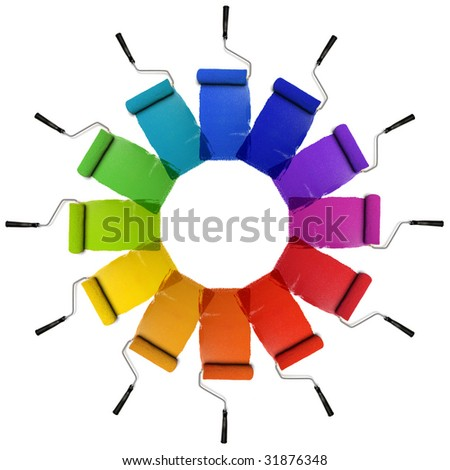 Paint Rollers with color wheel hues isolated over white background - stock photo