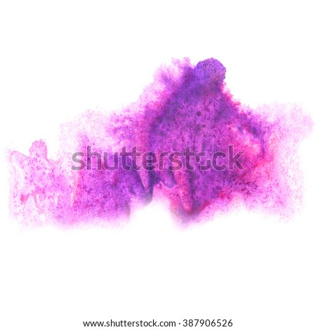paint splash color ink watercolor isolated stroke splatter purple watercolour aquarel brush - stock photo
