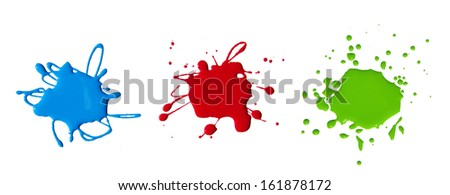 paint splash isolated on white . Photo. - stock photo