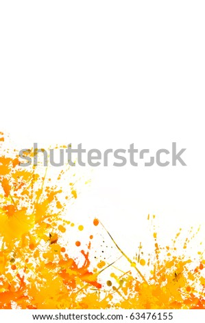 Paint Splashes in Autumn Colours on White Background