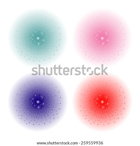 Paint spray beam effect. Aqua, pink, purple, red color splashes spheres. Raster clip art illustration isolated on white - stock photo