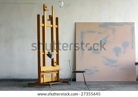 Paint studio in natural daylight. - stock photo