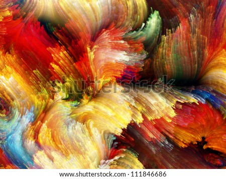 Paint Swirls Series. Interplay of streaks of digital color on the subject of art, design and creativity
