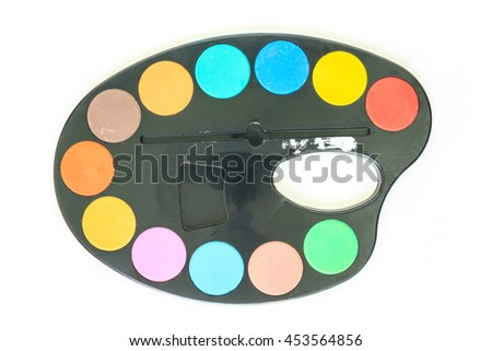 paint tray top view on white background. - stock photo