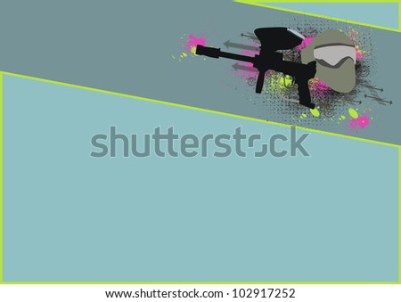 Paintball background with space (poster, web, leaflet, magazine) - stock photo