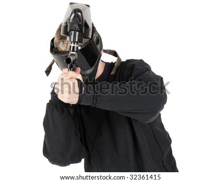 Paintball shooter on white background