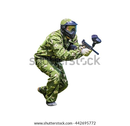 Paintball sport player in protective uniform and mask playing with gun, isolated on white background - stock photo