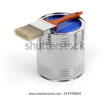Paintbrush and paint can with blue color - stock photo