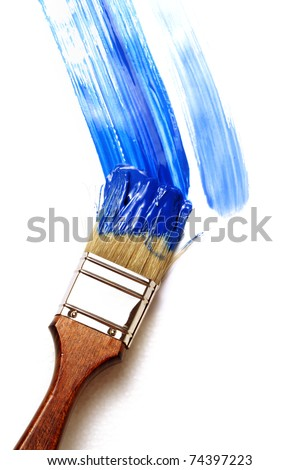 paintbrush and paints on white background
