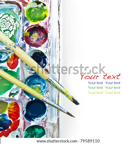 paintbrush and palette on white - stock photo