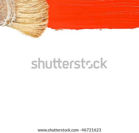 Paintbrush and red streak of paint isolated on white background - stock photo