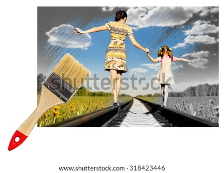 paintbrush draw photo of black-and-white in colour, Mother with the daughter go on rails, summer in field - stock photo