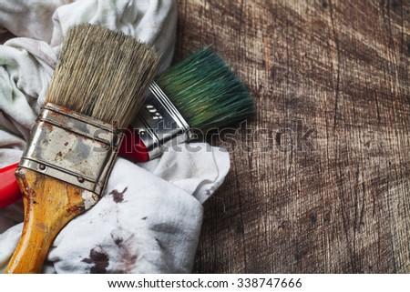 paintbrush on wood - stock photo