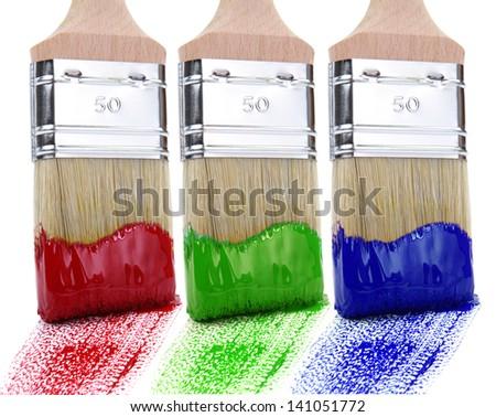 Paintbrush RGB white background - stock photo