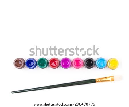 paintbrush with bottle color on white background - stock photo