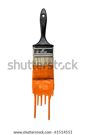 Paintbrush with dripping orange paint isolated over white background - stock photo
