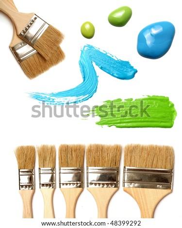 paintbrushes on white background. oil paint - stock photo