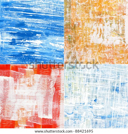 Painted abstract acrylic grunge backgrounds. - stock photo