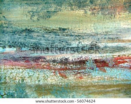 Painted Abstract Landscape on Canvas 2 - stock photo