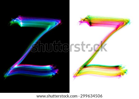 Painted Alphabet  z letter of light trace alphabet, isolated - stock photo
