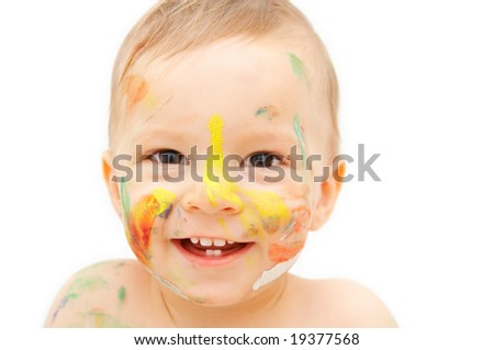 painted baby face - stock photo