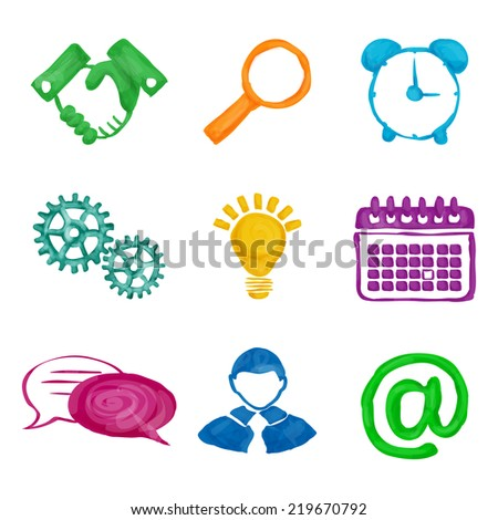 Painted business icons set of handshake magnifier alarm clock isolated  illustration. - stock photo