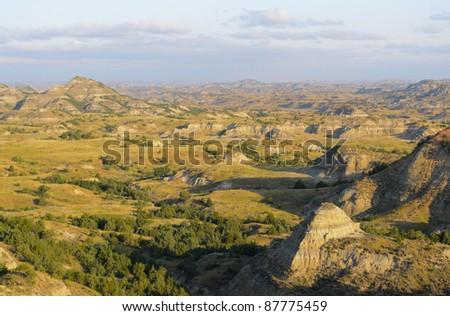 Painted Canyon badlands overlook at sunrise - stock photo
