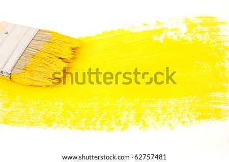 painted cardboard with brush isolated on white background