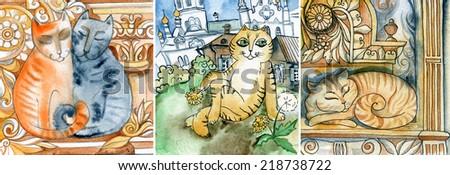 painted cats,funny ,Kitty, - stock photo