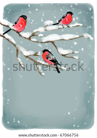 Painted Christmas background with bullfinch