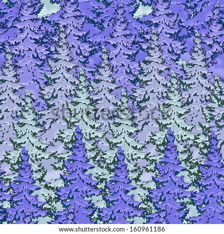 Painted Christmas fir forest. seamless image - stock photo