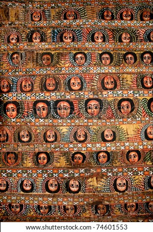 painted church ceiling in bahar dar bahir dar ethiopia - stock photo