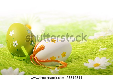 Painted Colorful Easter Eggs on green Grass - stock photo