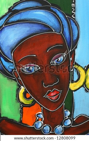 Painted colorful happy illustration: Portrait of  african women in traditional clothes. Art is created and painted by photographer. - stock photo