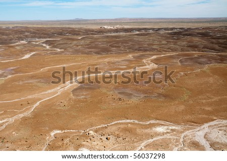 painted desert dry water trails - stock photo