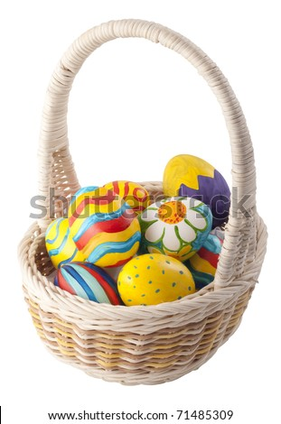 Painted eggs in the basket