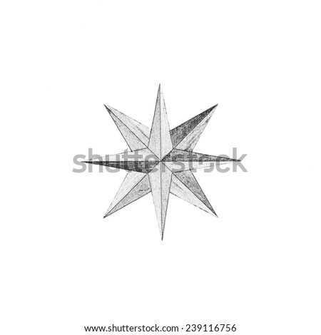 Painted  Eight-pointed star in monochrome isolated over white background - stock photo
