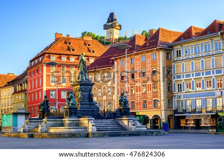 Painted facades and the Clock Tower in the old town of Graz, Austria are on UNESCO World Cultural Heritage list