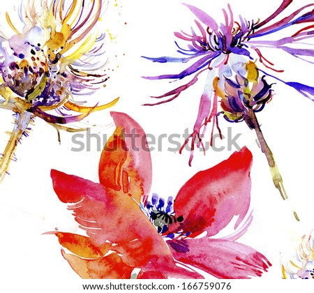 Painted floral background - stock photo