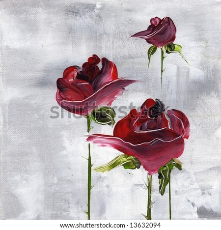 Painted floral background in beautiful shades of violet and purple with three nicely roses flowers on grey.Art is created and painted by photographer - stock photo