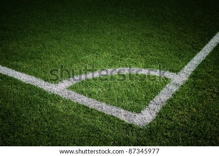 Painted Football/Soccer Corner Spot Lit - stock photo