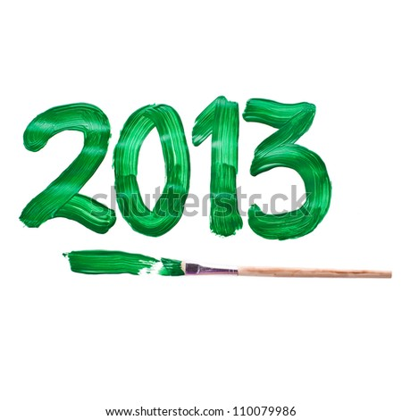 painted green acrylic paint and brush, the next digit of the new year 2013 isolated on white background - stock photo