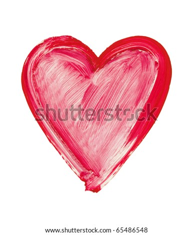 painted heart - symbol of love - stock photo