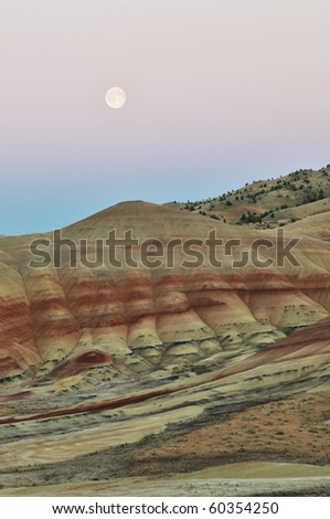 Painted Hills at sunset and moonrise,  Mitchell, Oregon