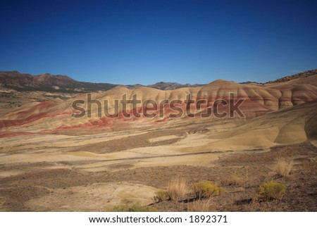Painted Hills in the John Day Fossil Beds National Monument In eastern Oregon