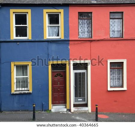 painted houses Shandon Cork Ireland - stock photo