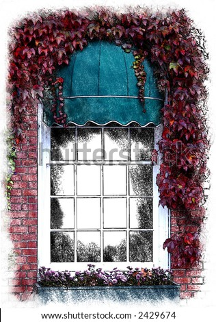 Painted ivy covered window - stock photo