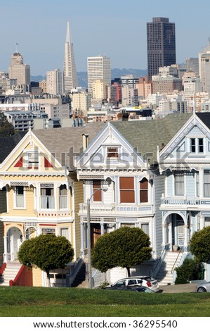 Painted ladies of Alamo Square in San Francisco - stock photo