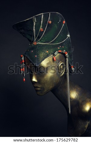Painted mannequin Girl with  ethnic headwear